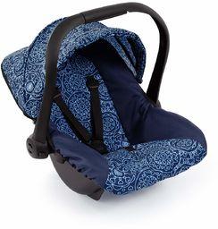 Bayer Design 67903AA fotelik samochodowy dla lalek EasyGo, akcesoria dla lalek, pasuje do wózków dla lalek Vario, z osłoną, niebieski ze wzorem