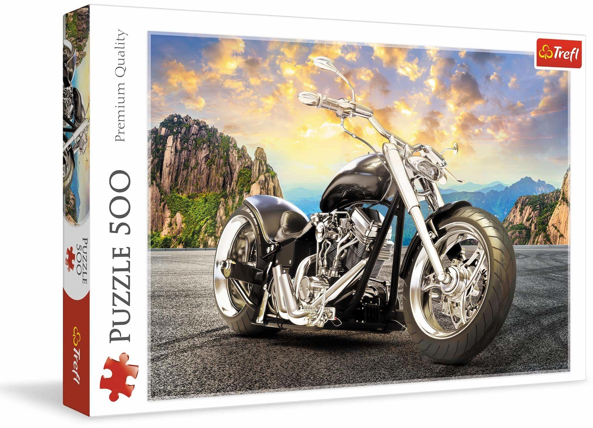 Trefl Czarny Motocykl Puzzle 500 Elementów o Wysokiej Jakości Nadruku dla Dorosłych i Dzieci od 10 lat