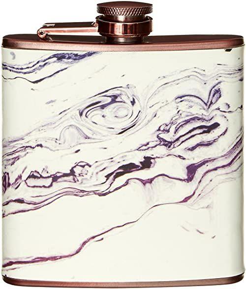 Piersiówka Premier Housewares, efekt marmuru, różowe złoto, stal nierdzewna, 3 x 10 x 11 cm