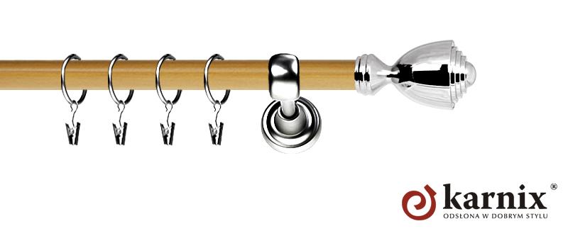 Karnisz Metalowy Prestige pojedynczy 25mm Avanti INOX - pinia