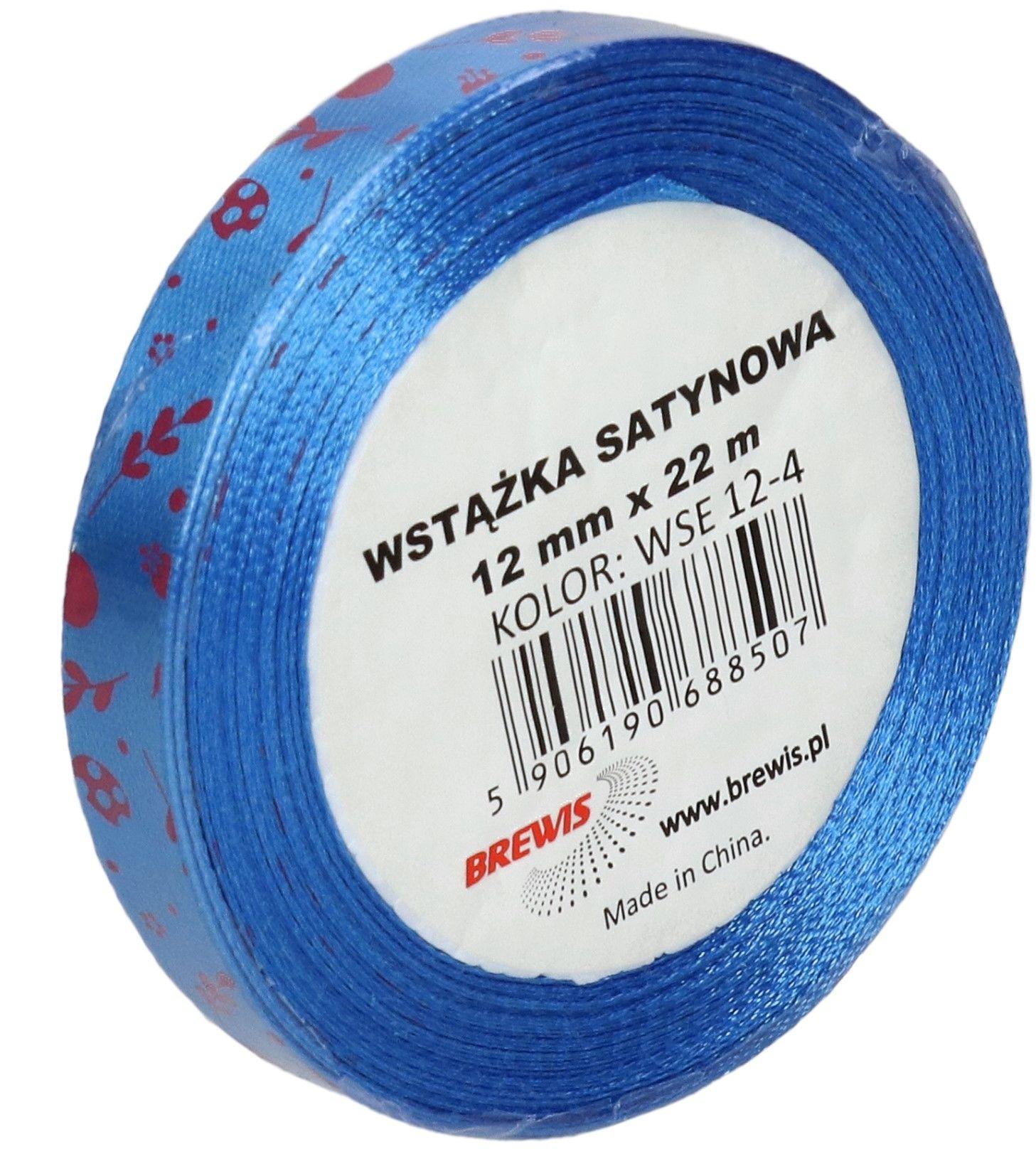 Wstążka satynowa 12mm niebieska wielkanoc Brewis WSE12-4