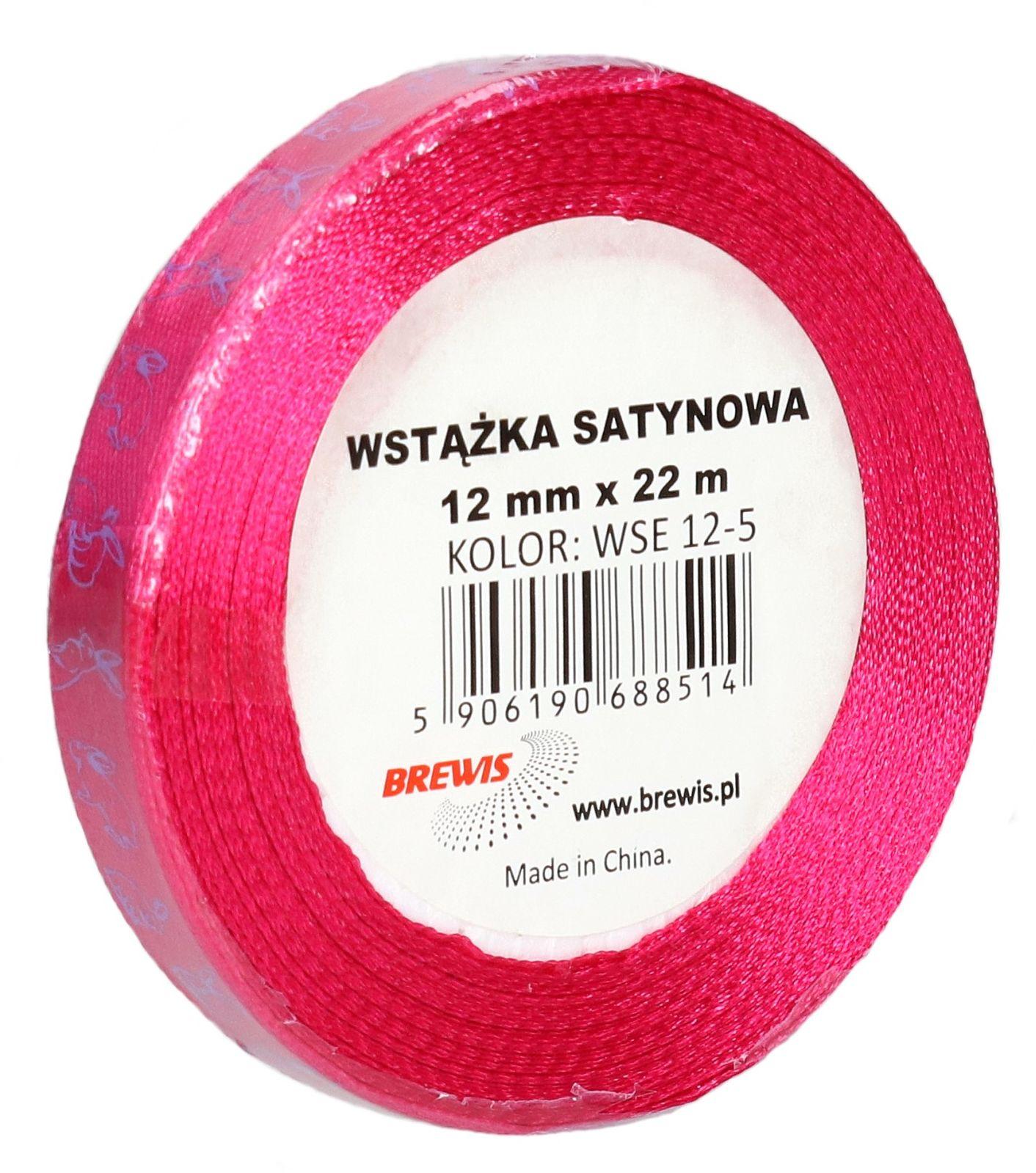 Wstążka satynowa 12mm różowa wielkanoc Brewis WSE12-5