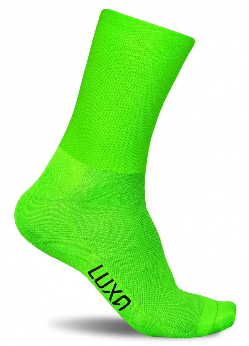Fluorescencyjne skarpety kolarskie FLUO GREEN - szybkoschnące, gładkie