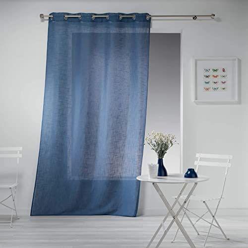 Zasłona z oczkami, 140 x 240 cm, efekt lnu, haltona, niebieska
