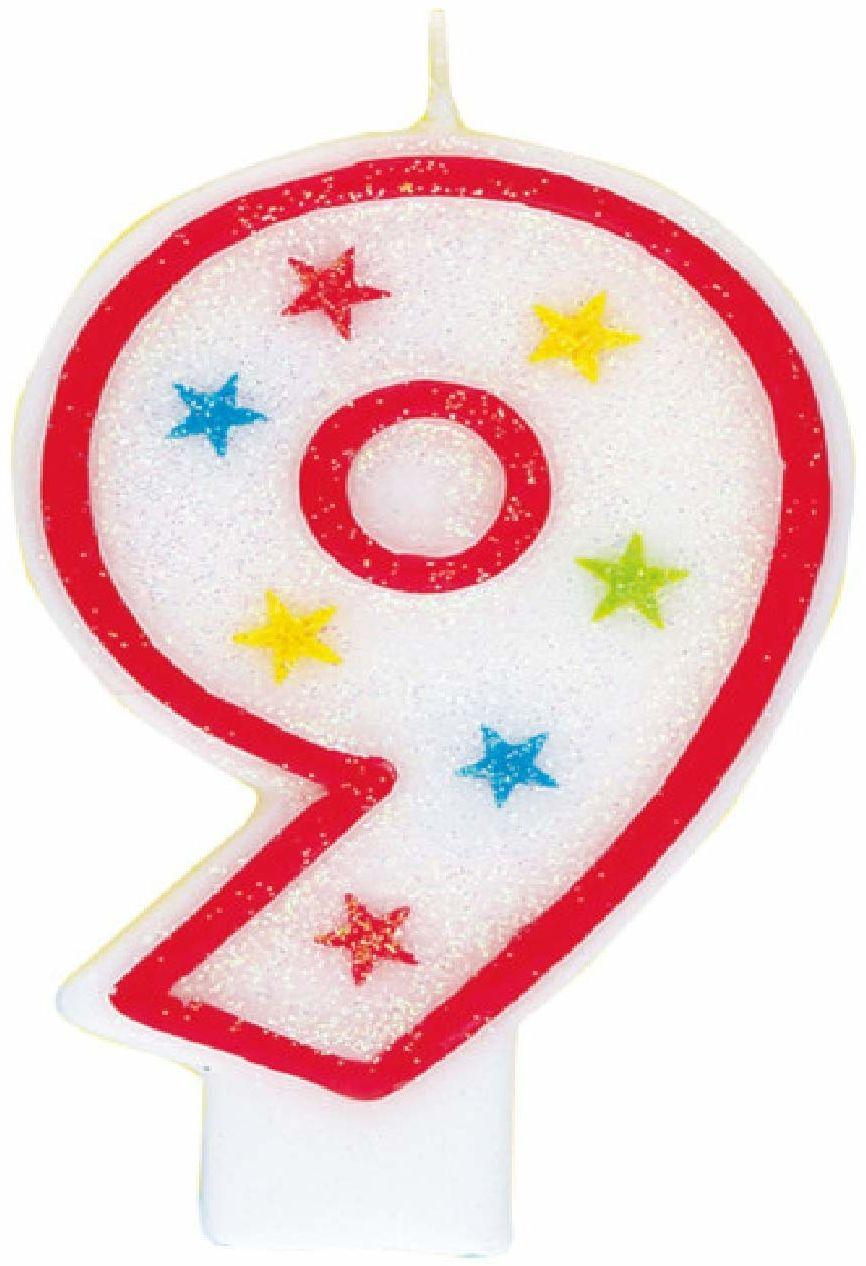 Unikalna impreza 37319 - świecąca świeca urodzinowa z numerem 9 i dekoracja tortu urodzinowego
