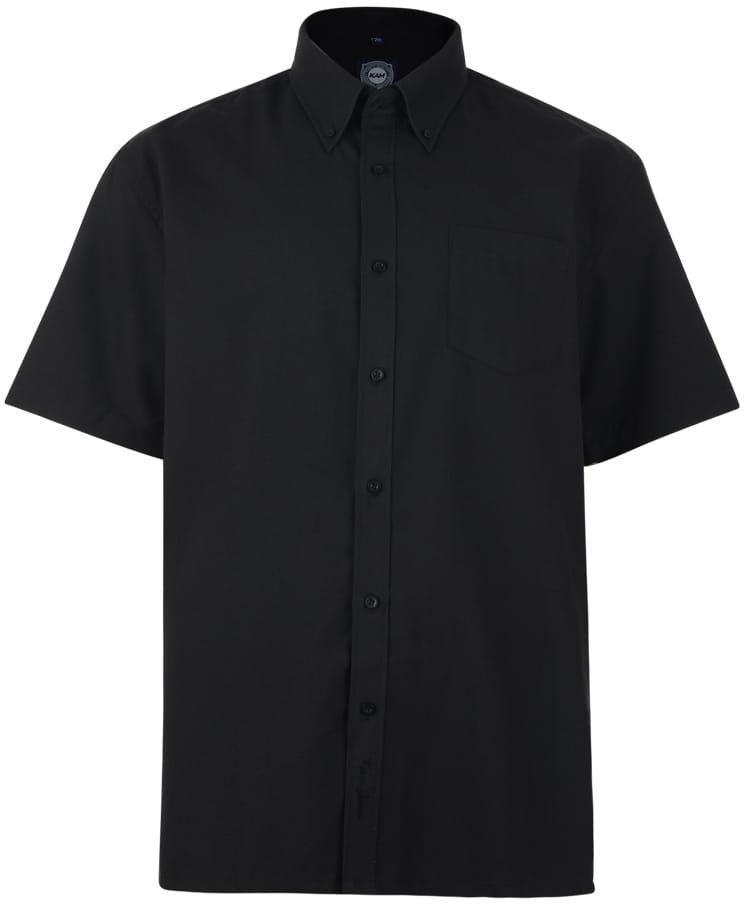 KAM 663A S/S Koszula Męska Czarna Duże Rozmiary