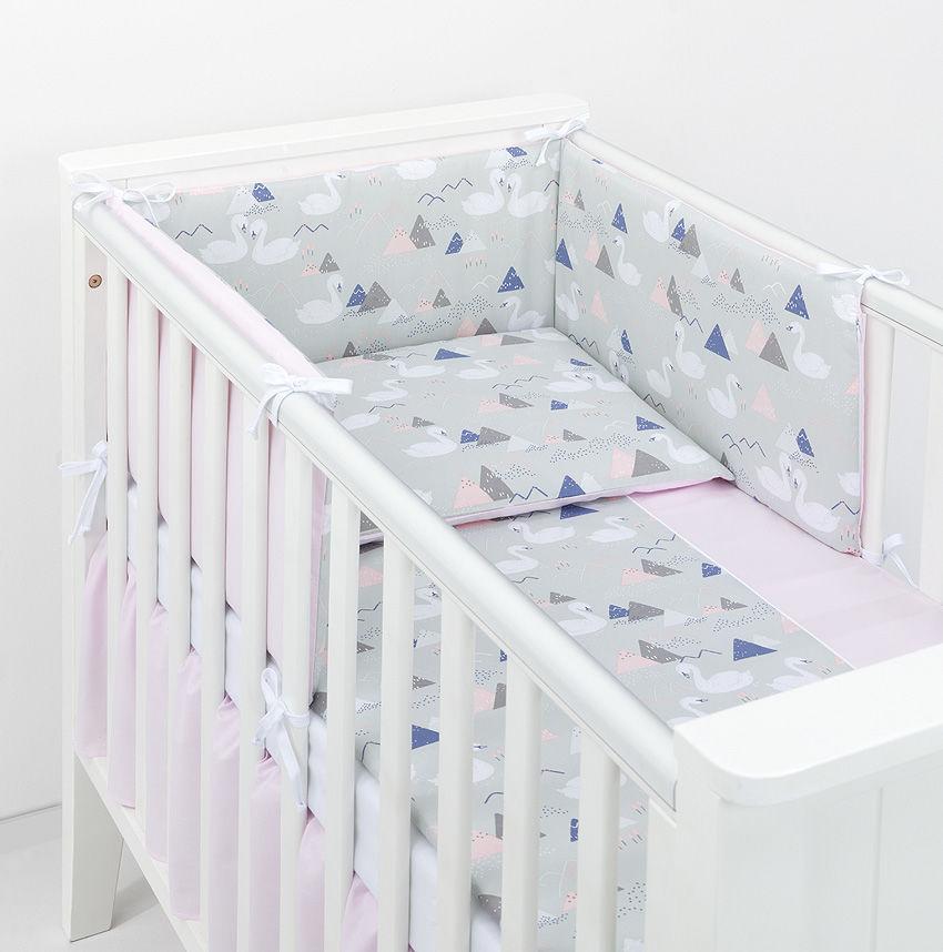 MAMO-TATO 2-el dwustronna pościel dla niemowląt BEST Łabędzie popiel / jasny róż