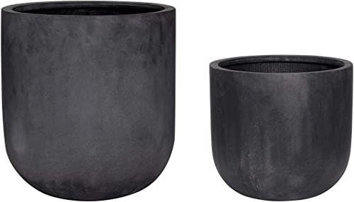 Hübsch doniczka, włókno szklane, czarna, S/2, włókno szklane, poliester, kamień, 33 x 31,4 x wys. 44 cm
