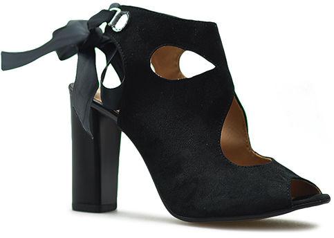 Sandały Venetti 1165/A Czarne zamsz