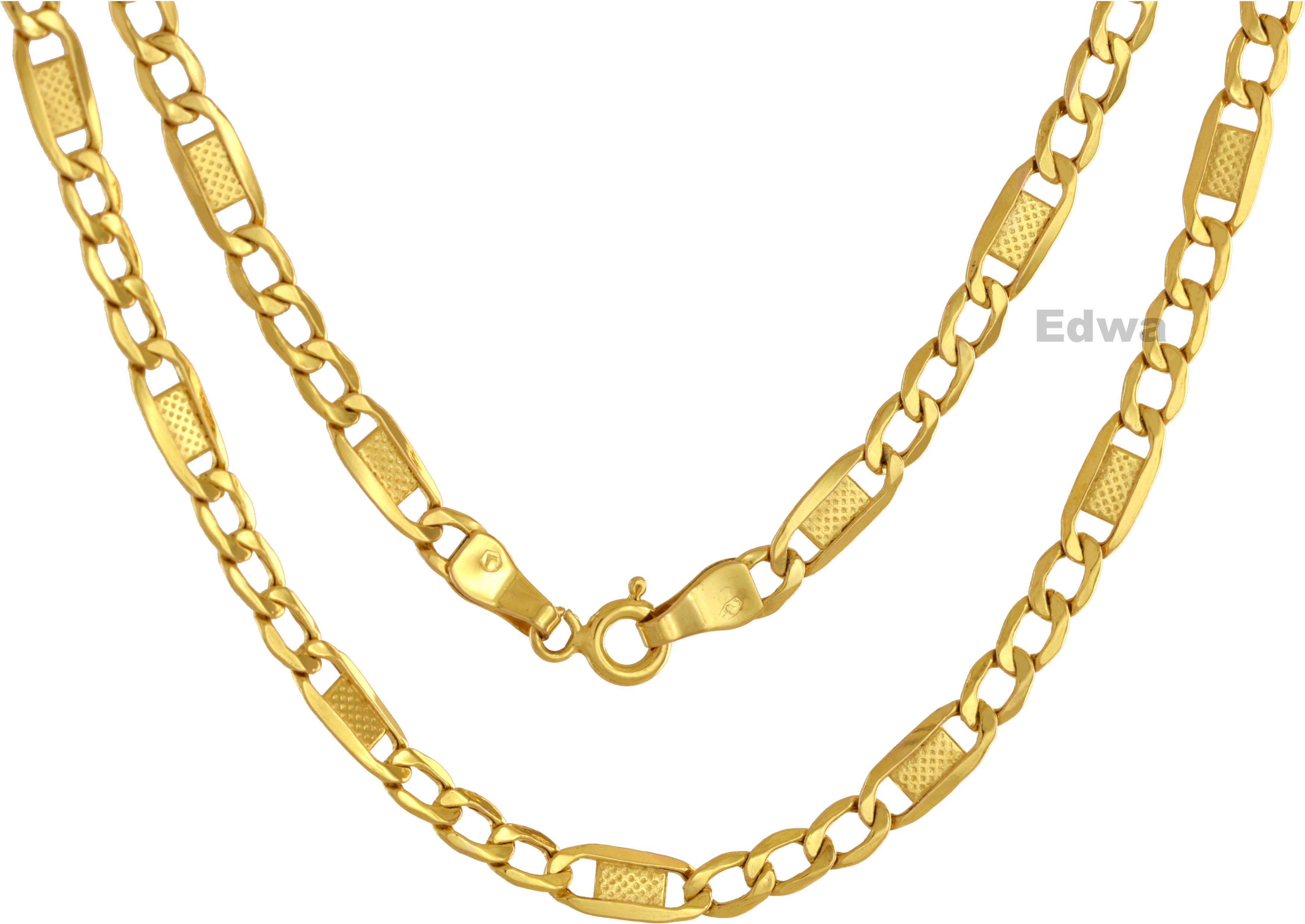 Łańcuszek złoty, Figaro z wzorem, dmuchane złoto pr.585 50 cm