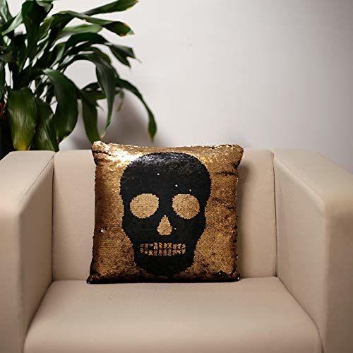Puckator Czarna i złota cekinowa poduszka czaszka, poliester, mieszana, wysokość 39 cm szerokość 38 cm głębokość 13 cm