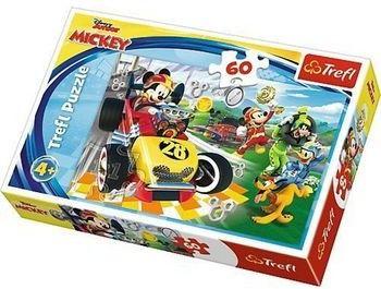 60 Elementów Puzzli Dla Młodszych Graczy Rajd z Przyjaciółmi Myszka Miki Kaczor Donald Goofy i Pluto