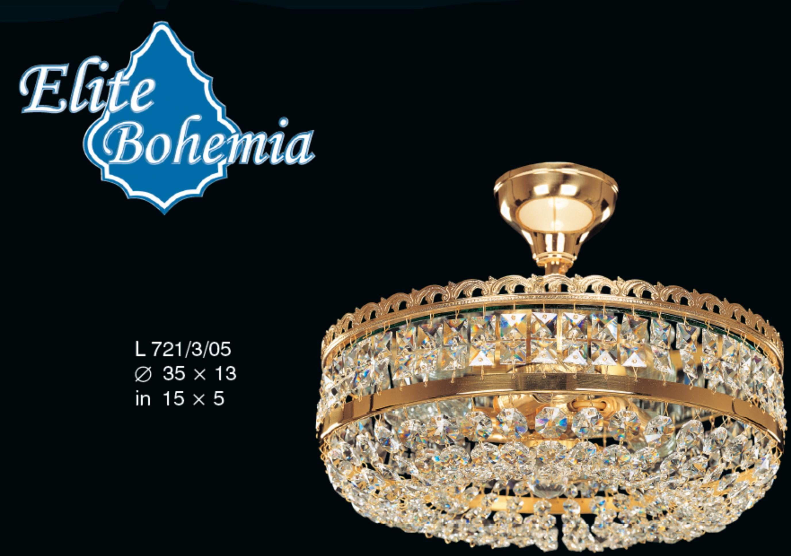 Plafon kryształowy na 3 żarówek - Elite Bohemia