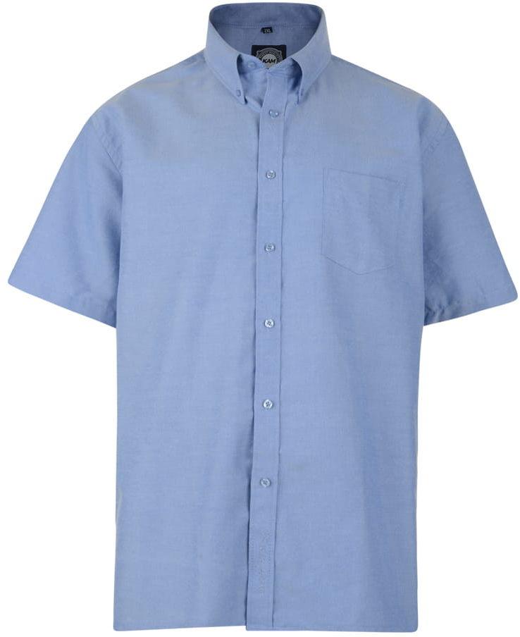 KAM 663A S/S Koszula Męska Niebieska Duże Rozmiary