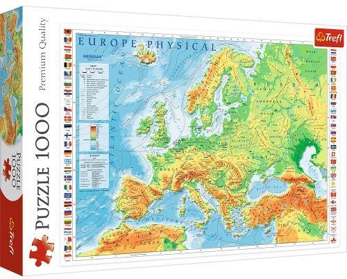 Puzzle 1000 Mapa fizyczna Europy