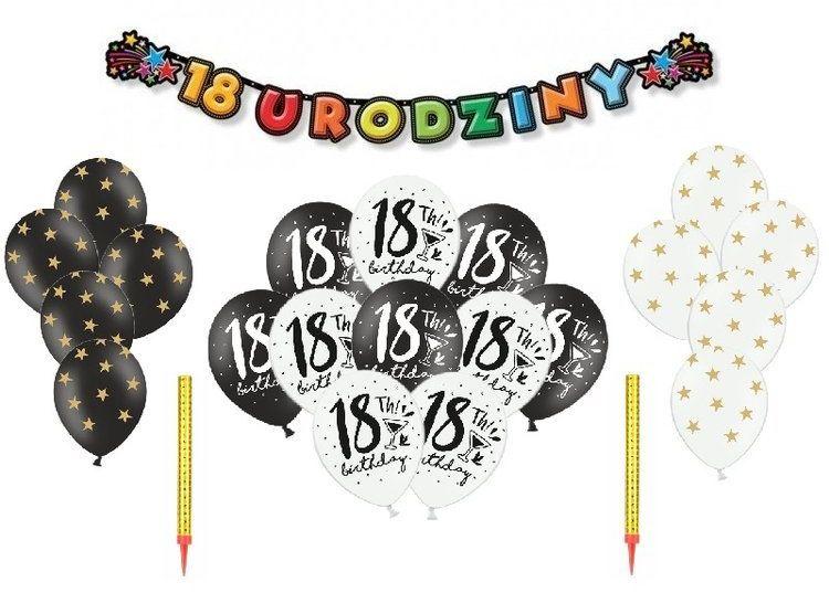 Zestaw dekoracji na 18 urodziny 23el. zes18-5