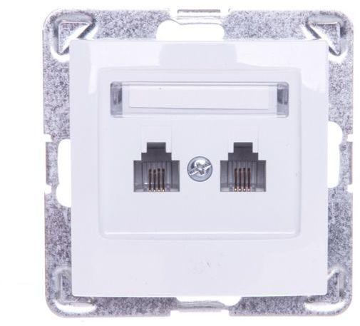 IMPRESJA Gniazdo telefoniczne podwójne RJ11 równoległe białe GPT-2YR/m/00