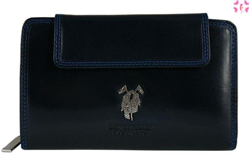 Skórzany damski portfel Harvey Miller granatowy