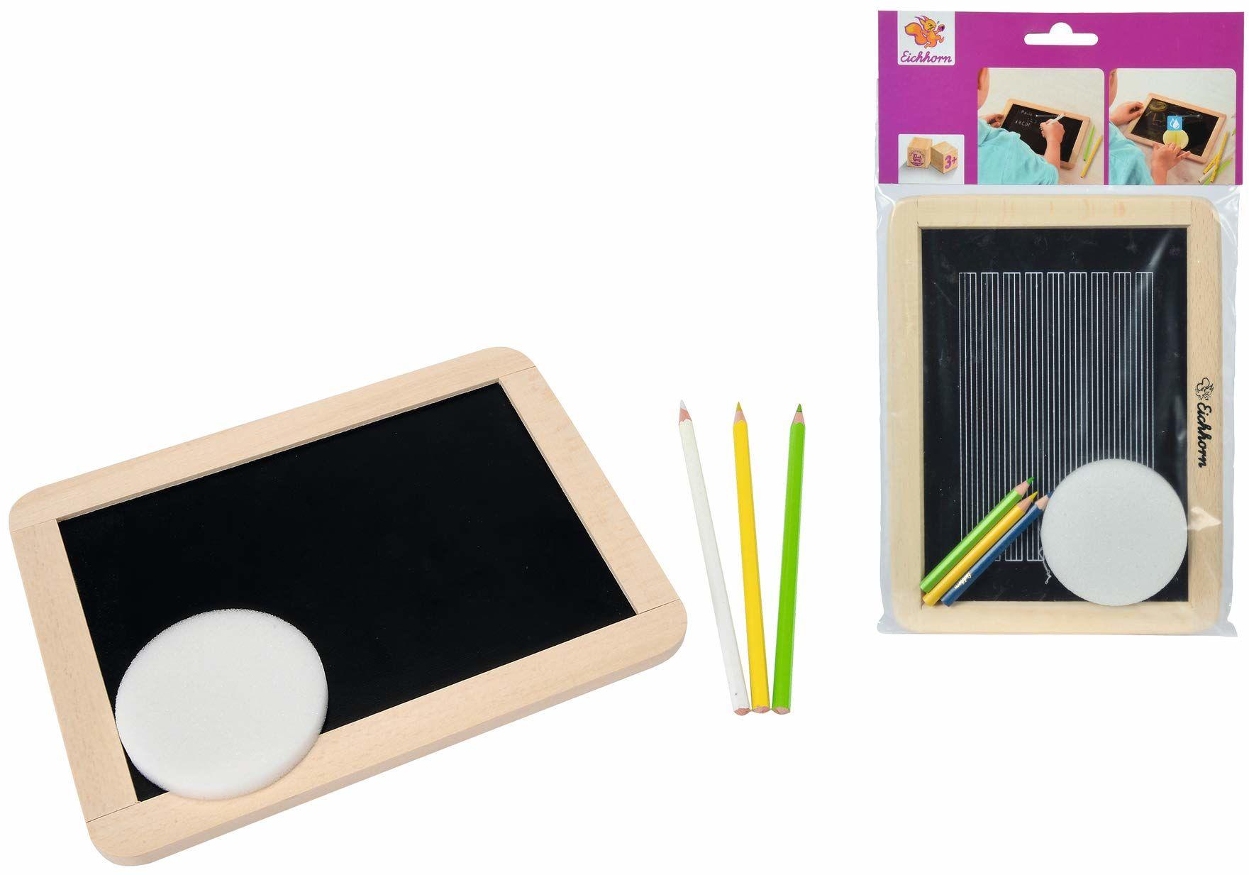Eichhorn 100002572  mała tablica szkolna do kredek i kred, w zestawie 3 pisaki i 1 gąbka, 25 x 18 cm, 5-częściowa, drewno bukowe