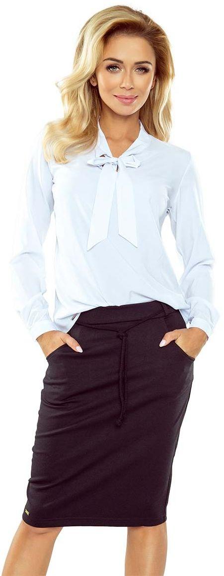 Biała bluzka elegancka z wiązaną szarfą