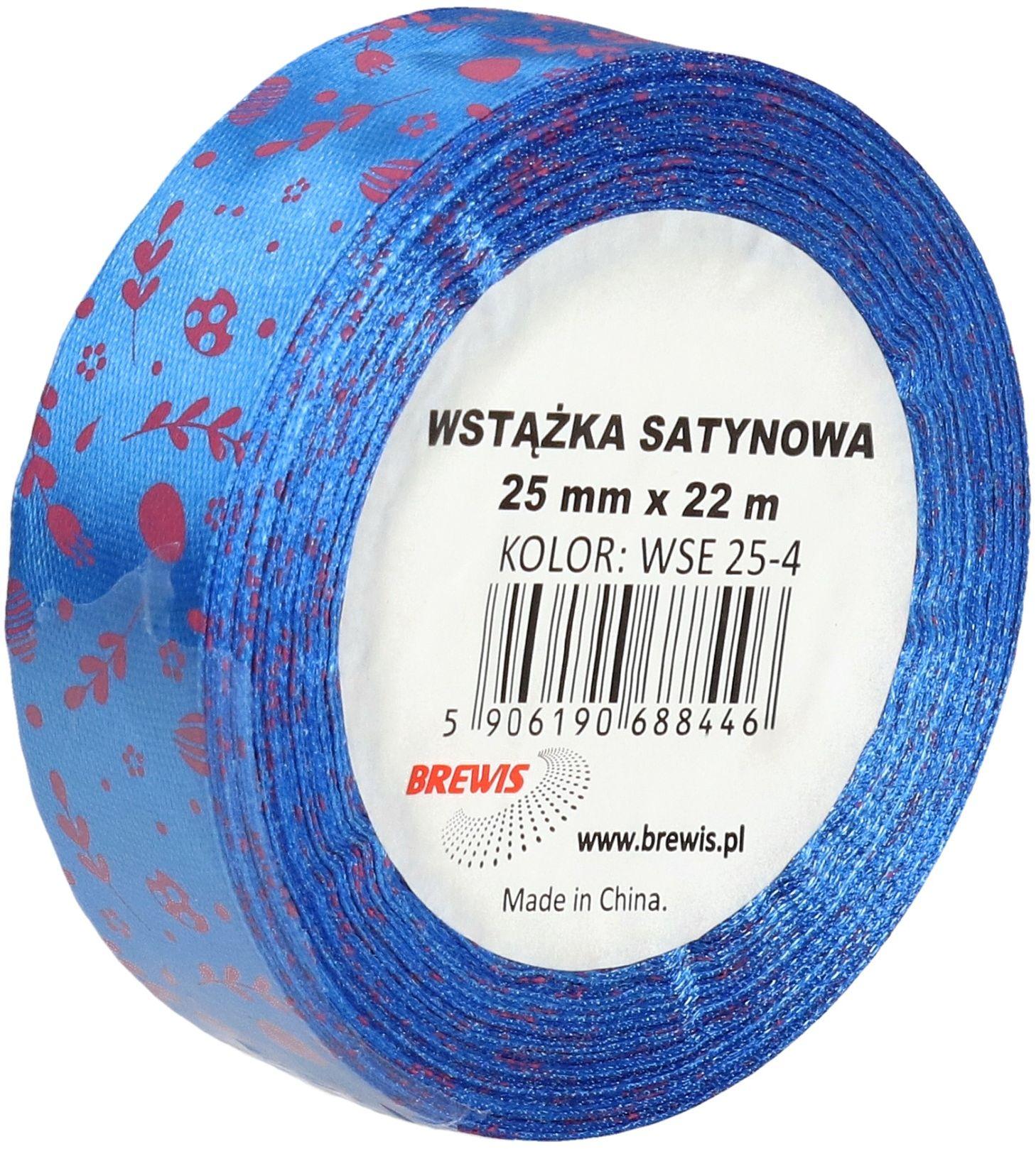 Wstążka satynowa 25mm niebieska wielkanoc Brewis WSE25-4