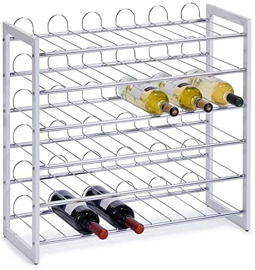 Zeller 27360 chromowany metalowy stojak na wino 68 x 26,5 x 63 cm biały