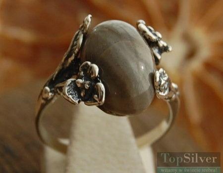 Chieti - srebrny pierścionek z krzemieniem pasiastym