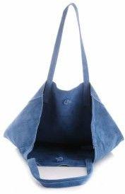 Modne Torebki Skórzane typu ShopperBag z Etui Zamsz Naturalny Wysokiej Jakości Niebieska - Jeans (kolory)