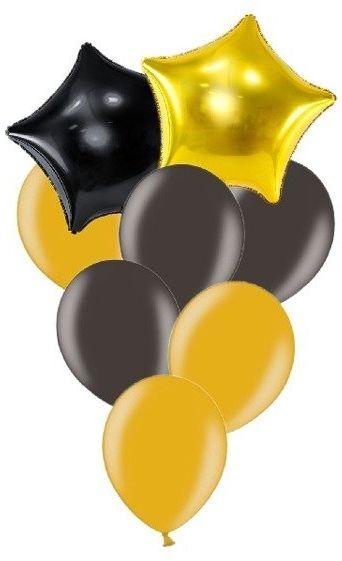 Zestaw balonów słupek czarne i złote 8 sztuk SL6