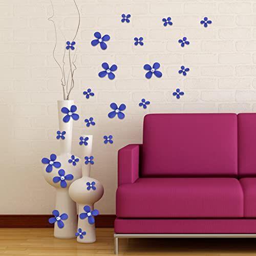 """Walplus """"kwiaty kryształ 3D"""" dekoracja domu restauracji DIY salon sypialnia zdejmowane samoprzylepne naklejki ścienne artystyczne naklejki wystrój biura, fioletowe, 10 x 18 x 3,5 cm, 12-częściowy"""