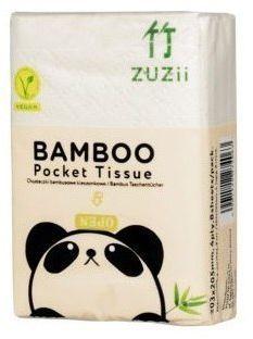 ZUZII Chusteczki higieniczne kieszonkowe bambusowe 4-warstwy 8-opakowań
