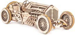 UGEARS 70044 U-9 Grand Prix samochód wyścigowy model samochodu samemu budowlany retro samochód oldtimer samochód z silnikiem i korbą ręczną, zestaw modelowy z drewna