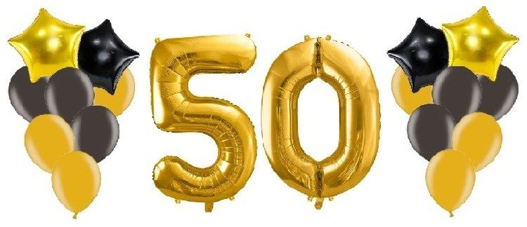 Balony na 50 urodziny złote i czarne 18 sztuk A6