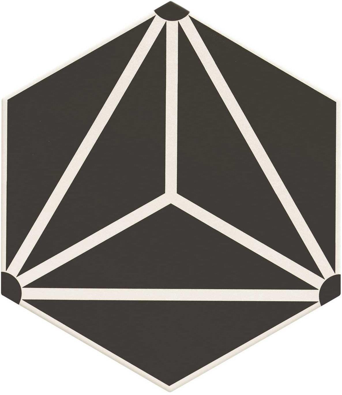 Osaka Black 28,5x33 płytka heksagonalna