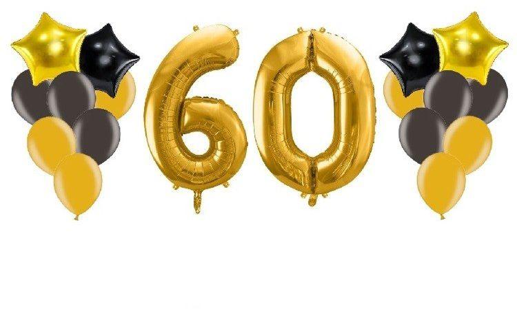 Balony na 60 urodziny złote i czarne 18 sztuk A7