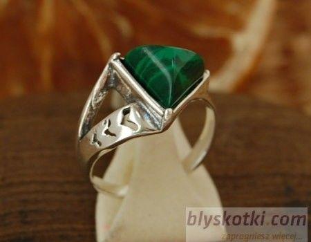 Tangle - srebrny pierścionek z malachitem