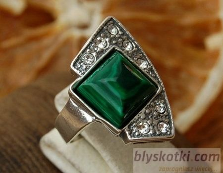 Flos - srebrny pierścionek z malachitem i kryształkami