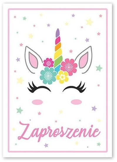 Zaproszenie na urodziny Jednorożec 1szt ZX6818