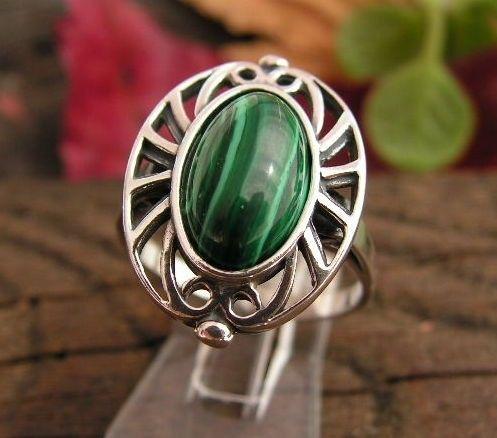 Gente - srebrny pierścionek z malachitem