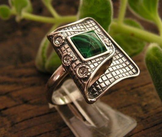 Pappa - srebrny pierścionek malachit z kryształkami