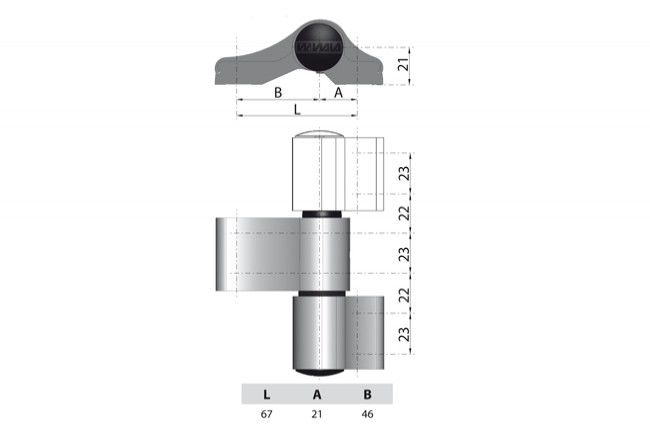 Zawias WALA WX 80104562 2-skrzydełkowy niesymetryczny L=67 brązowy
