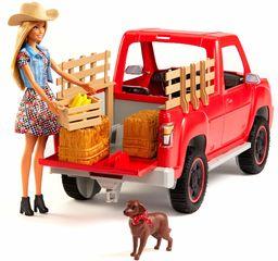 Barbie GFF52 Sweet Orchard Farm ciężarówka i lalka ze zwierzętami domowymi i więcej