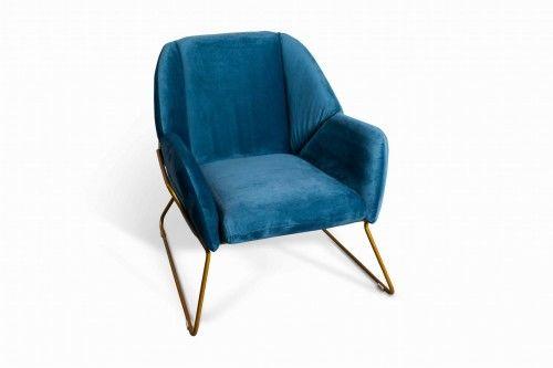 Fotel aksamitny Ambonn niebieski