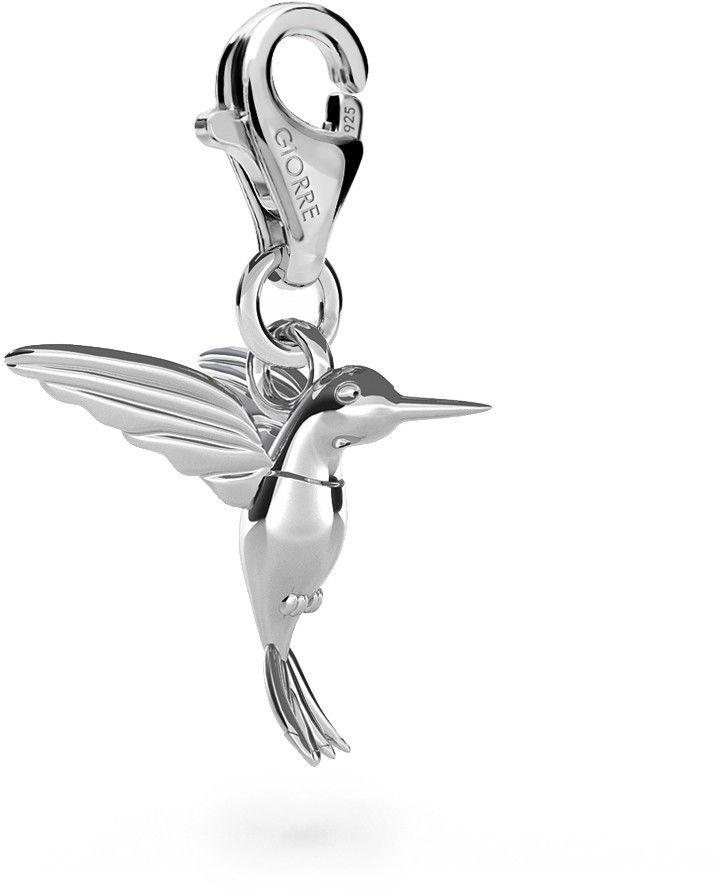 Koliber srebrny charms zawieszka beads, srebro 925 : Srebro - kolor pokrycia - Pokrycie platyną, Wariant - Zawieszka
