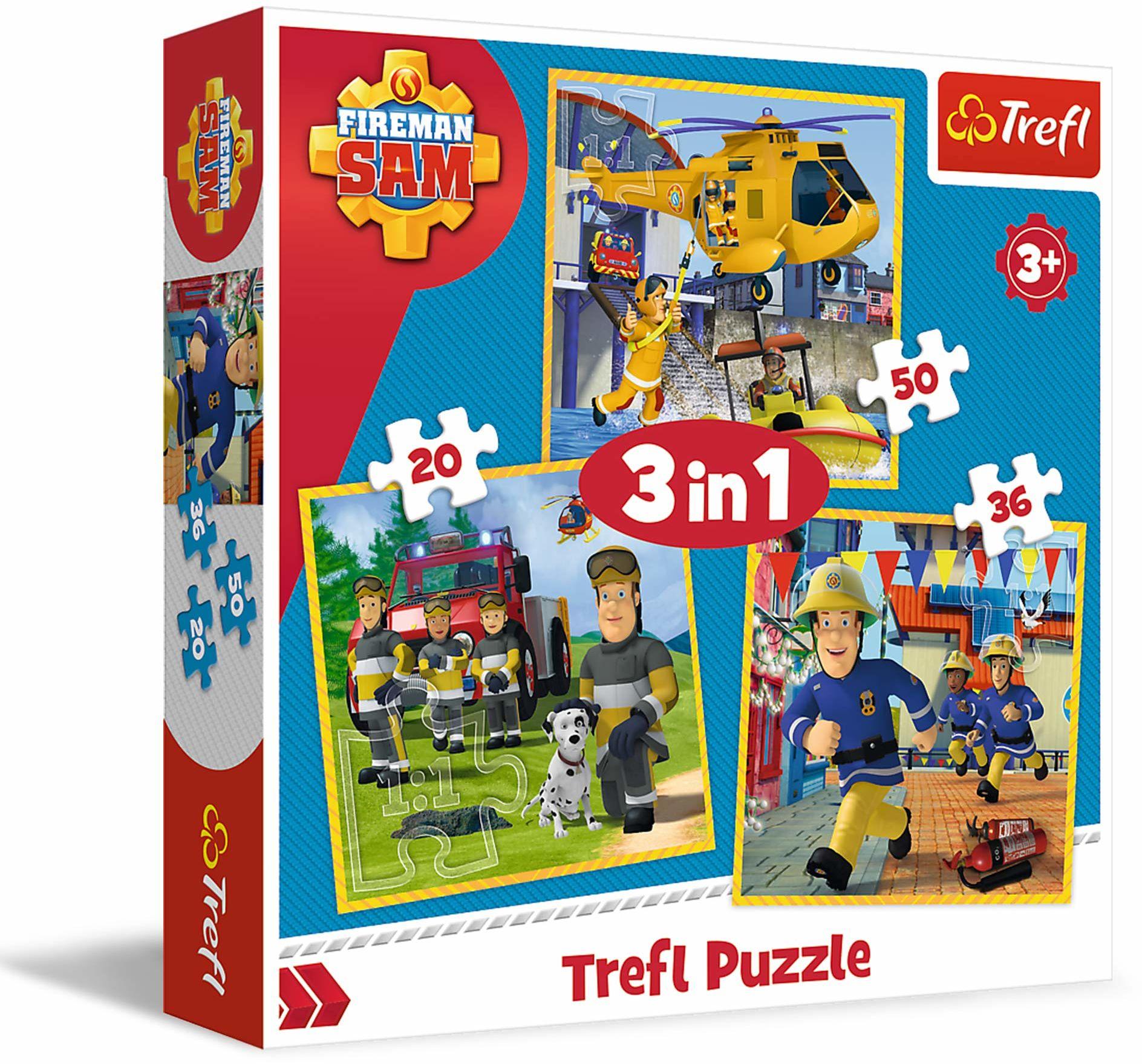 Trefl Strażak Sam w Akcji Puzzle 3 w 1 o Wysokiej Jakości Nadruku dla Dzieci od 3 lat