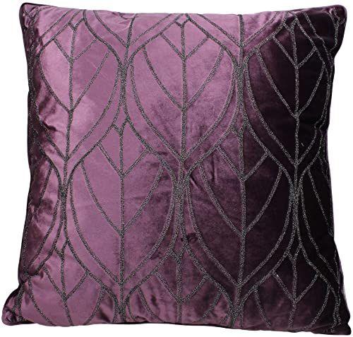 Ozdobna poduszka z wypełnieniem - aksamit - liliowa - 60 x 60 cm