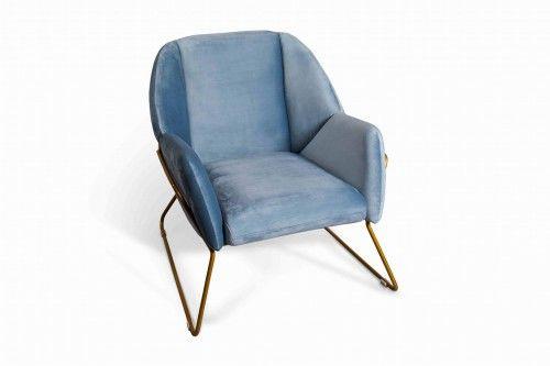 Fotel aksamitny Ambonn błękitny