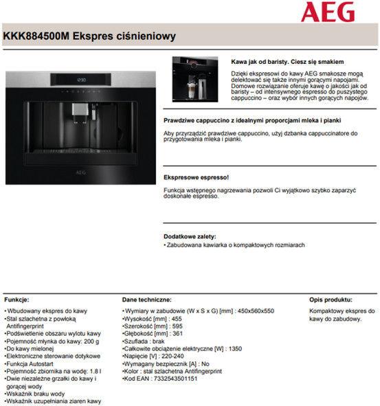 AEG ekspres KKK884500M + 850 zł na Karcie lub RABAT !!! Zadzwoń !!! - (22)8777777 - Promocje, Szybkie realizacje i wysyłki