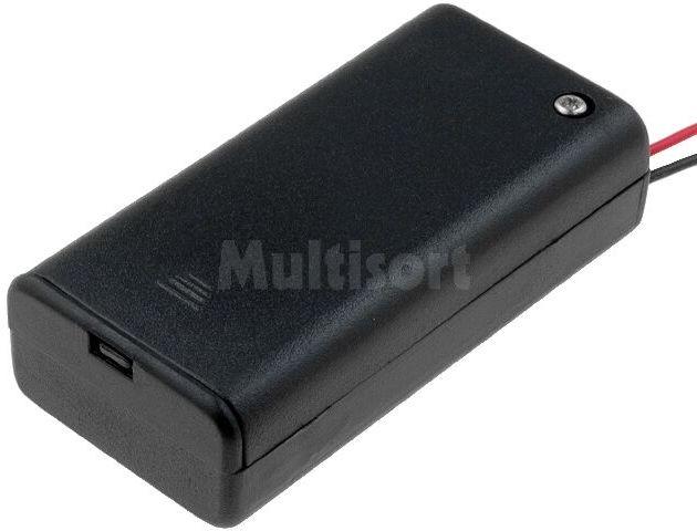 Pojemnik na 2 baterie R6(AA) czarny z przewodami
