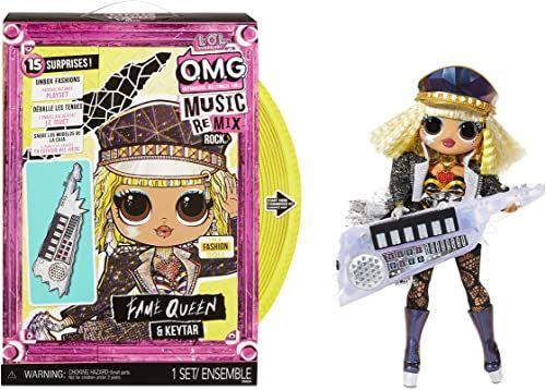 LOL Surprise OMG Remix Rock FAME QUEEN Lalka Modowa z 15 Niespodziankami - Z Keytar, Strojem, Butami, Szczotką, Stojakiem, Zeszytem Tekstów i Opakowaniem Gramofonu - Dla Dzieci Od 4 Lat
